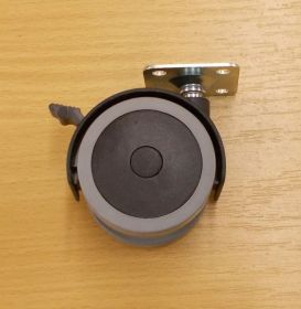 Kolečko PU pásek 40 mm, s plotničkou  a brzdou