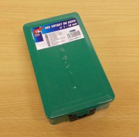 Sada 19 ks vrtáků do kovu průměr 1-10 mm HSS