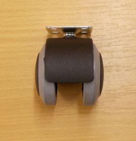 Kolečko nábytkové , PU ásek 50 mm, s plotničkou 38x38 mm, s brzdou