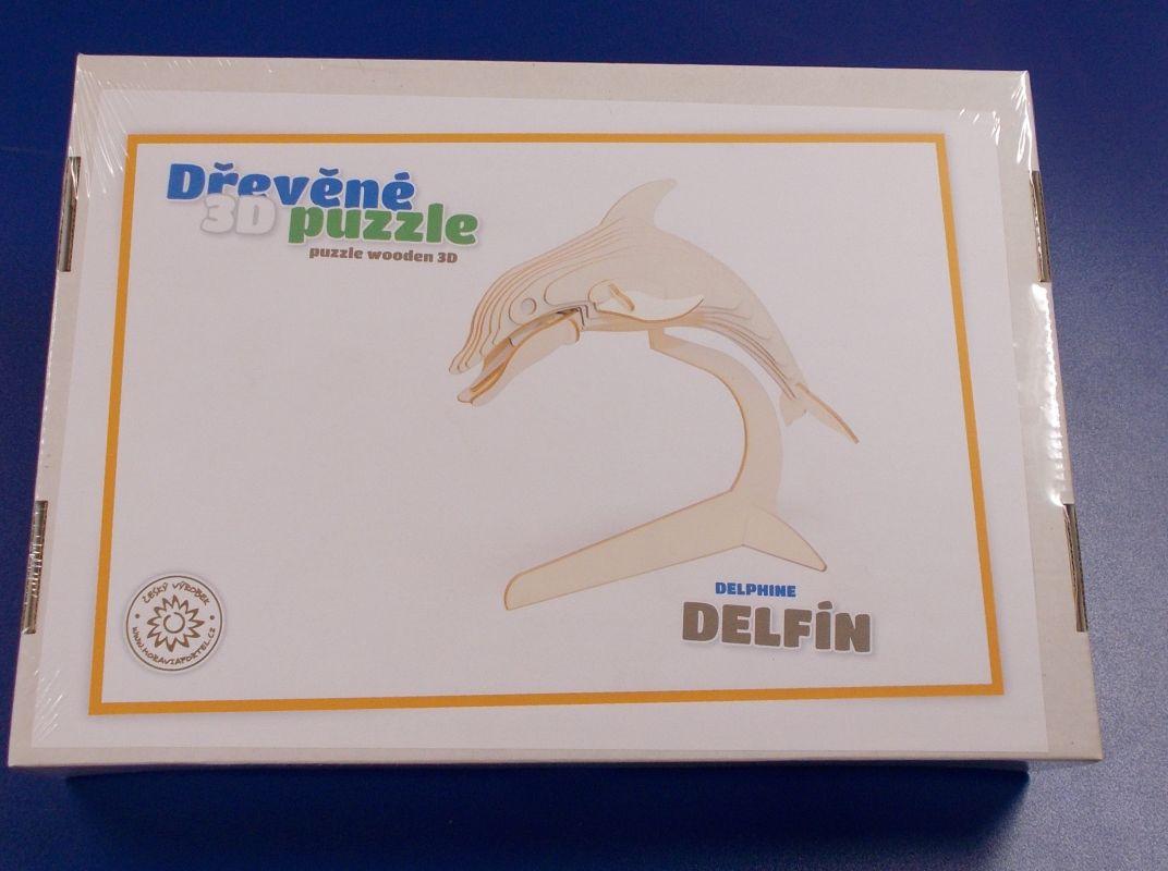 Dřevěné 3D puzzle - model delfín