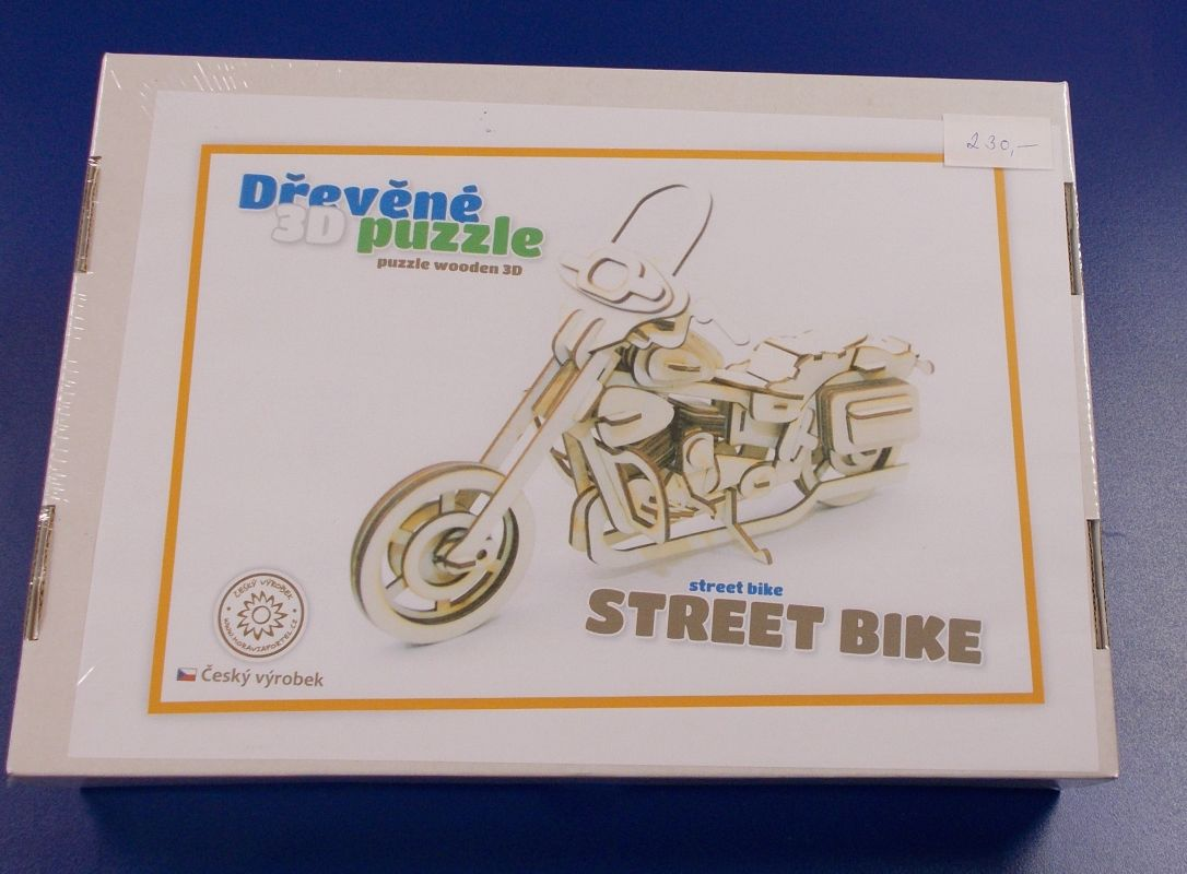Dřevěné 3D puzzle - model motorky street bike