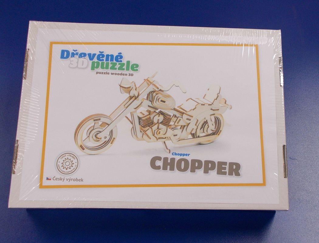 Dřevěné 3D puzzle - model motorky Chopper