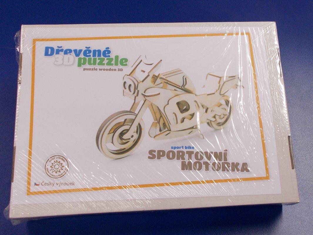 Dřevěné 3D puzzle - model sportovní motorky