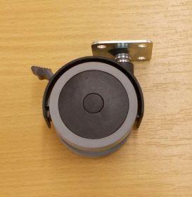 Kolečko nábytkové , PU pásek 40mm, s plotničkou 38x38 mm, s brzdou