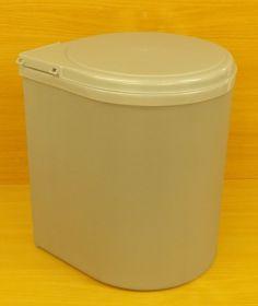 Koš vestavný, plastový, kulatý 13 litrů , šedý