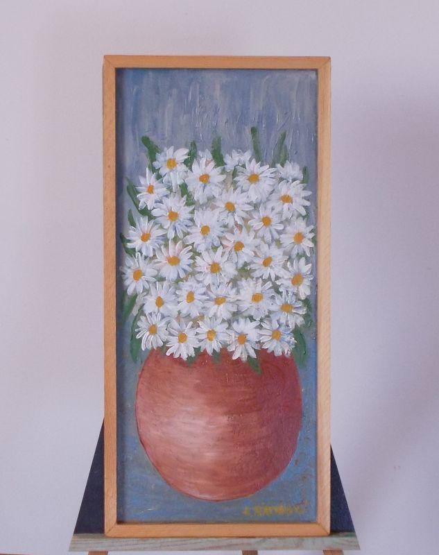 Obraz Kopretiny v kulaté váze 24x51 cm, akryl