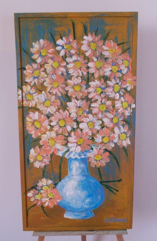 Obraz Kytička modrá váza 34x67 cm, akryl