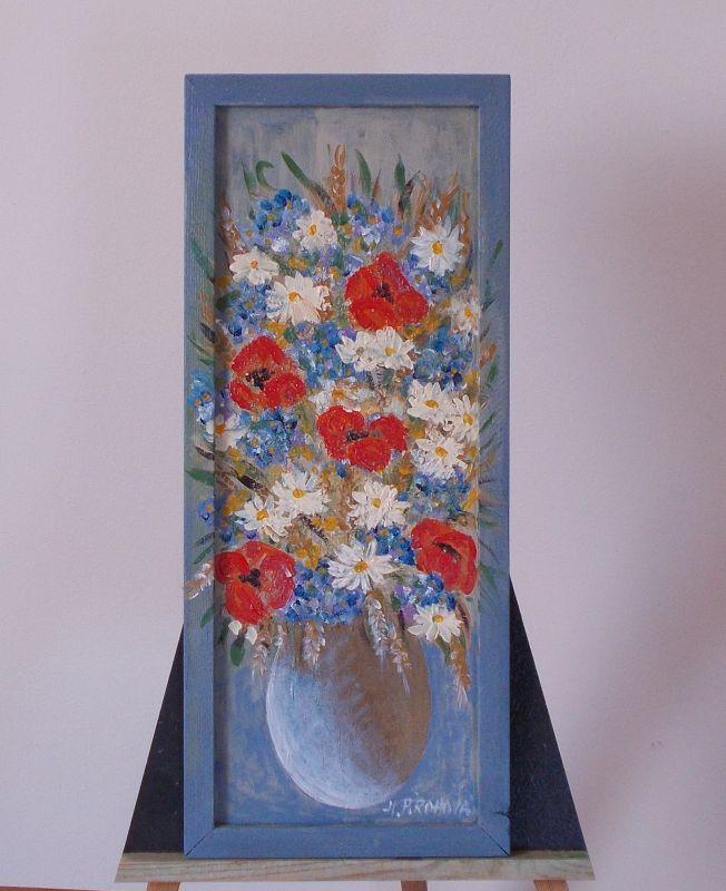 Obraz Polní kytice 21x50 cm, akryl
