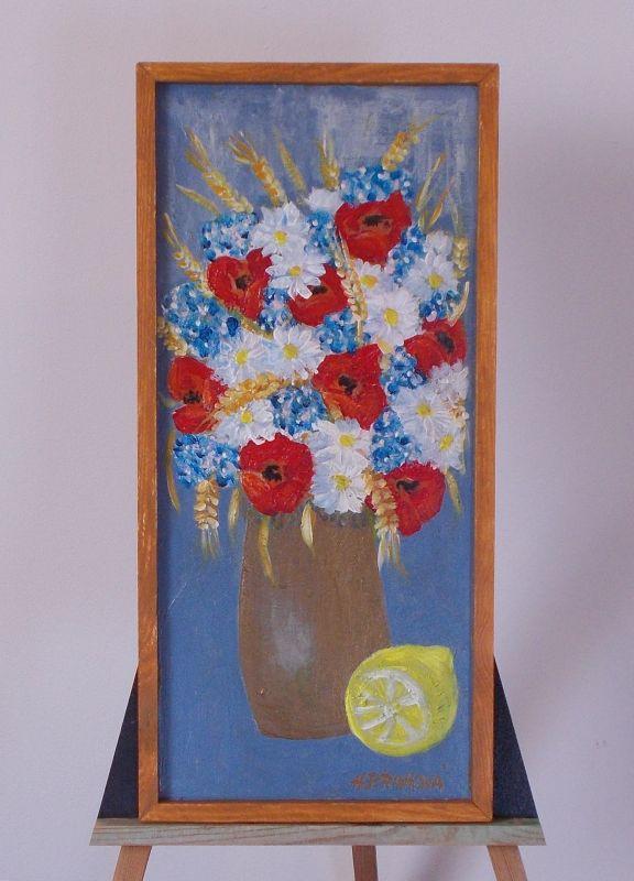 Obraz Polní kytice 4 rozměr 24x51 cm, akryl