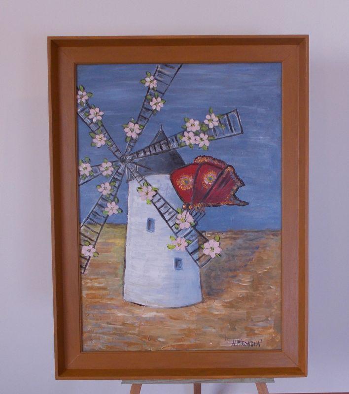 Obraz Větrný mlýn 40x57 cm, akryl