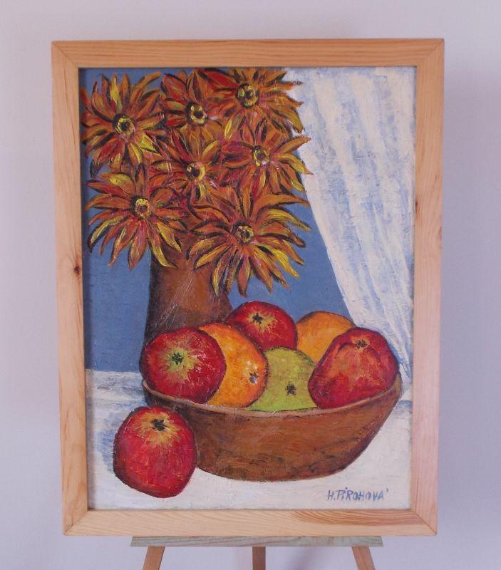 Obraz Zátisí ovoce a kytka 46x59 cm, akryl