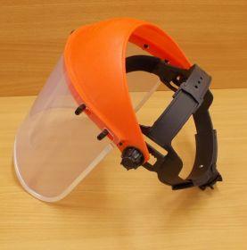 Ochranný štít ,červený,nastavitelný dle rozměru hlavy