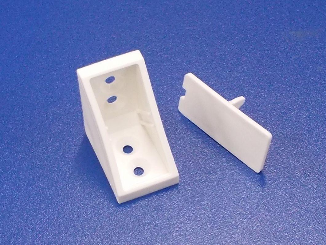 Plastový náb. rožek 4 otvorový, nad sebou , bílý , bal= 50 ks