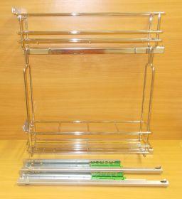 Výsuvný dvojkoš,Chrom,částečný výsuv FGV s tlumením, 150mm,levý