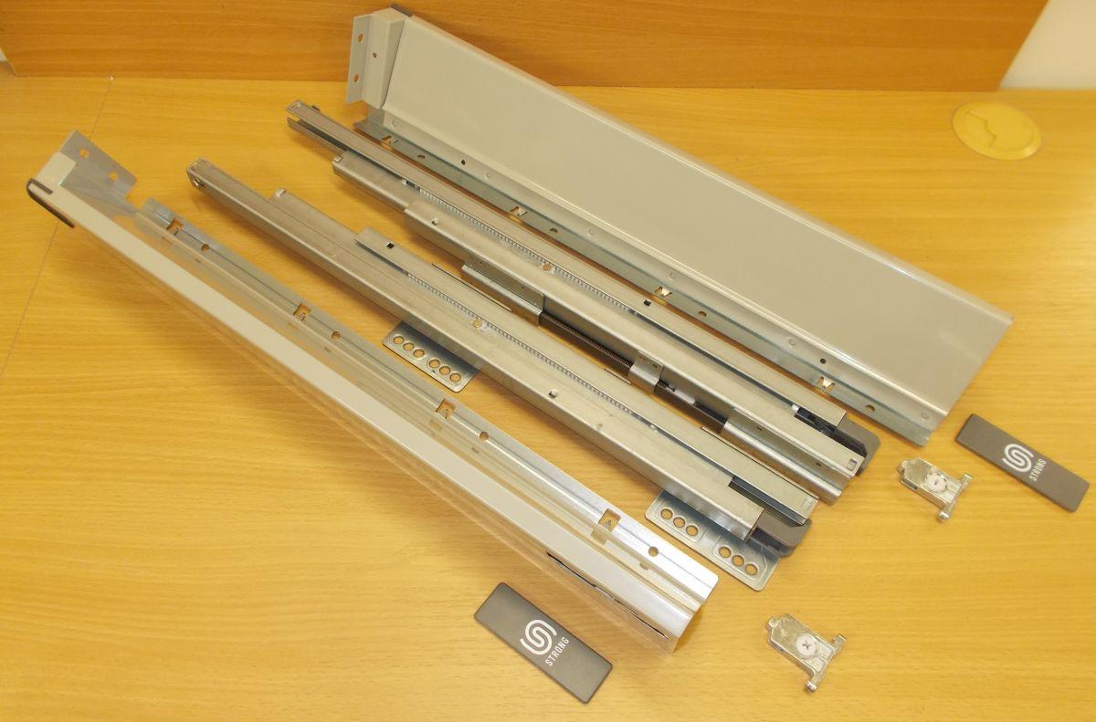 Plnovýsuv s tlumením STRONG BOX 86/350 mm - komlpletní sada šedá