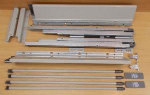 Plnovýsuv s tlumením STRONG BOX 204/350 mm - komlpletní sada šedá dvojitý reling