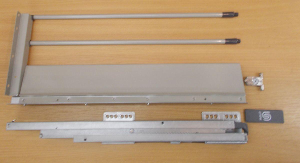 Plnovýsuv s tlumením STRONG BOX 204/400 mm - komlpletní sada šedá dvojitý reling