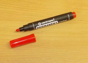 Popisovač, centropen permanent maker, fix, hrot 2,5mm, červený
