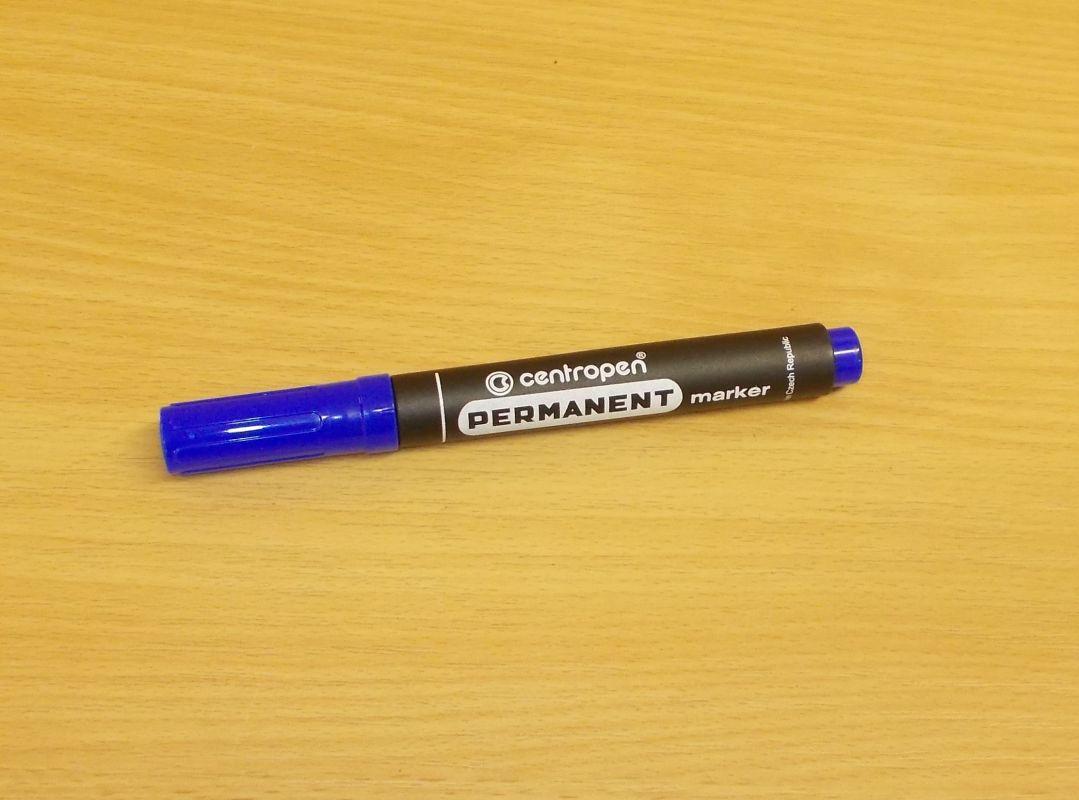 Popisovač, centropen permanent maker, fix, hrot 2,5mm, modrý