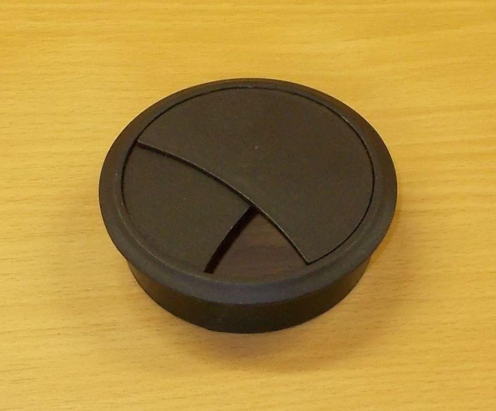 Průchodka nábytková zaklapávací, kabelová 70 mm - černá