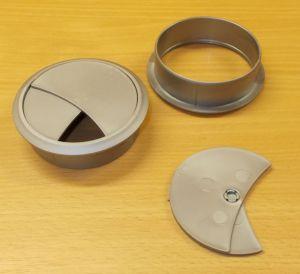 Průchodka nábytková zaklapávací, kabelová 70 mm - stříbrná
