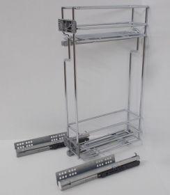 Výsuvný dvojkoš,VIBO,plnovýsuv quadro s tl., 150mm,levý, pro hor.skříňku