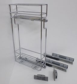 Výsuvný dvojkoš,VIBO,plnovýsuv quadro s tl., 150mm,pravý, pro HORNÍ skříňku