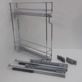 Výsuvný dvojkoš,VIBO,plnovýsuv quadro s tlumením., 150mm,pravý, pro spodní skříňku