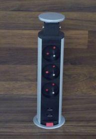 Výsuvný el. sloupek - 3 zásuvky 220 V + 2x USB