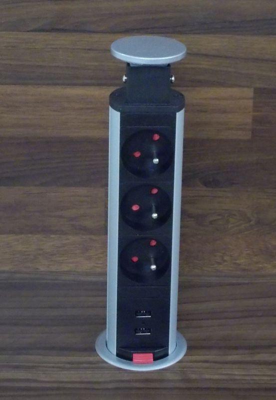 Výsuvný elektrický sloupek - 3 zásuvky 220 V + 2x USB