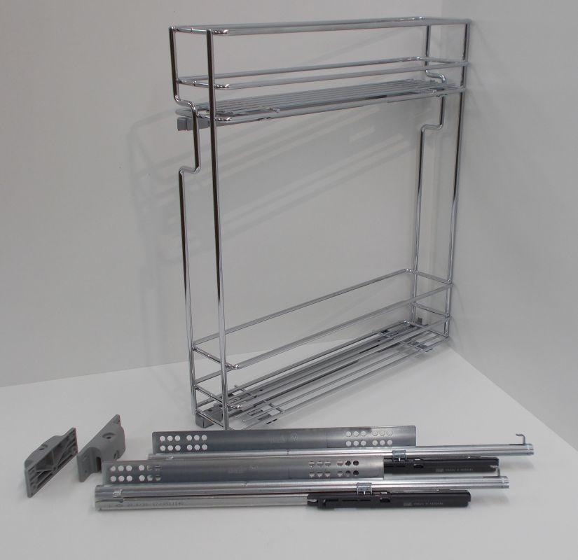 Výsuvný dvojkoš,VIBO,plnovýsuv quadro s tlumením., 200mm,levý, pro spodní skříňku