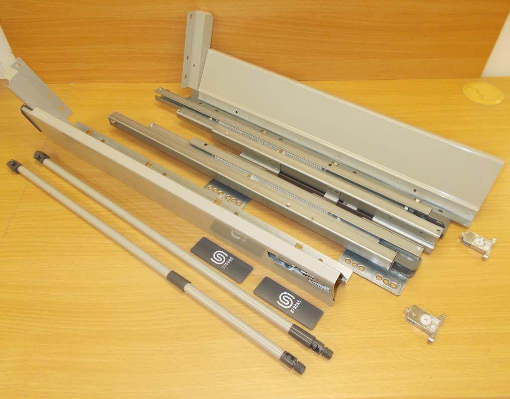 Plnovýsuv s tlumením STRONG BOX 140/350 mm - kompletní sada šedá