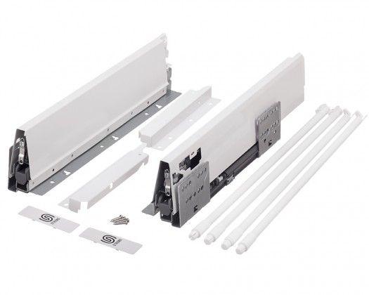 Plnovýsuv s tlumením STRONG BOX 204/450 mm - kompletní sada bílá dvojitý reling