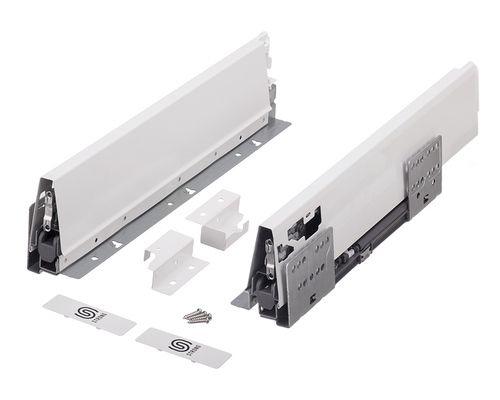 Plnovýsuv s tlumením STRONG BOX 204/550 mm - komlpletní sada Bílá dvojitý reling
