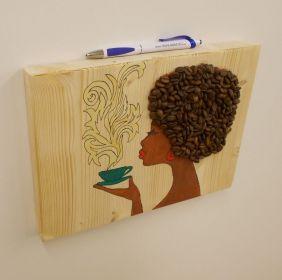 Dekorace - Madam Káva - žlutý hrnek,