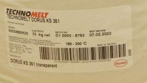 Tavné lepidlo Dorus-technomelt KS 351 ,barva bílá - white , balení=pytel 25kg