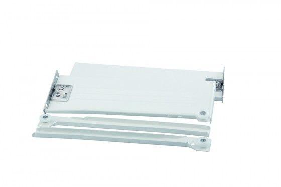 Výsuv s plnou bočnicí, bílý, rolničkový, kolečkový, 150/450 mm