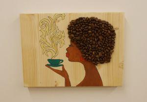 Dekorace - Madam Káva - zelený hrnek