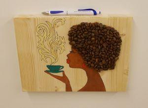Dekorace - Madam Káva - zelený hrnek,