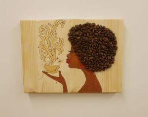 Dekorace - Madam Káva - žlutý hrnek