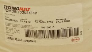 Tavné lepidlo Dorus-technomelt KS 351 ,barva transparent, balení=pytel 25kg
