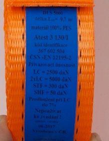 Upínací pás, upínací popruh 50mm/10m , 5000kg, balení=1kus